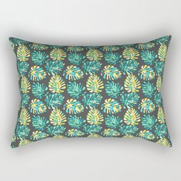 Modern green yellow tropical monster cheese leaves pattern Rectangular Pillow