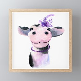Fancy Cow With Fascinator Framed Mini Art Print