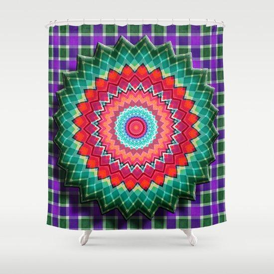 Plaid Flower Shower Curtain