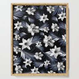 Tropical Flowers Palm Leaves Finesse #4 #tropical #decor #art #society6 Serving Tray
