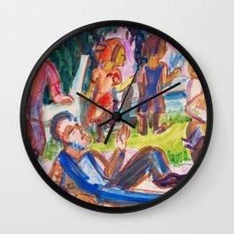 12,000pixel-500dpi - Picknick - Ernst Ludwig Kirchner Wall Clock