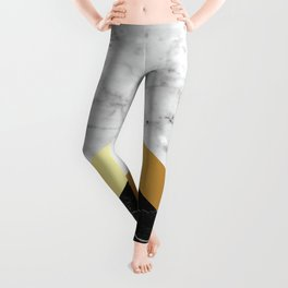Arrows - White Marble, Gold & Black Granite #147 Leggings