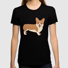 Corgi Dog Womens Fitted Tee Black MEDIUM