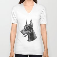 doberman V-neck T-shirts featuring Doberman by Danguole Serstinskaja