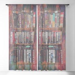 Stephen King Books on Shelves Sheer Curtain