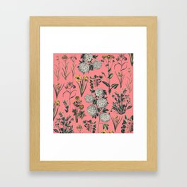 Drawing Flowers in Pink Framed Art Print