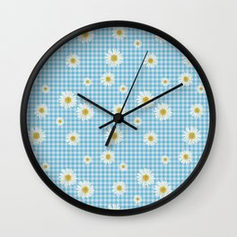 Daisies On Blue Gingham Wall Clock