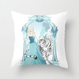 Frozen White Tiger Throw Pillow