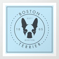 boston terrier Art Prints featuring Boston Terrier by Lulo The Boston Terrier
