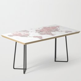Dusty pink and grey detailed watercolor world map Coffee Table