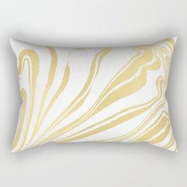Bronze Copper Gold Rush Marble Ink Swirl Rectangular Pillow