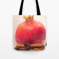 pomegranate Tote Bags featuring Pomegranate by Tanja Riedel