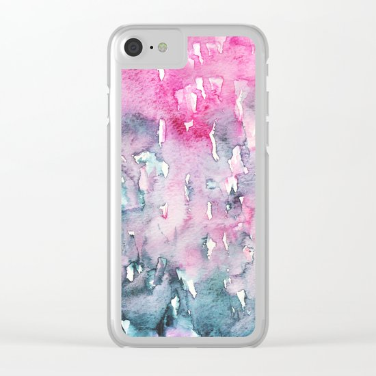 When indigo loves pink || watercolor Clear iPhone Case