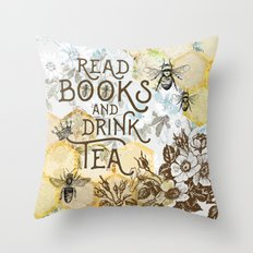 Bee Tea and Books Throw Pillow