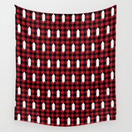 Camping Forest cabin chalet plaid red black and white minimal hipster gifts for festive christmas Wall Tapestry