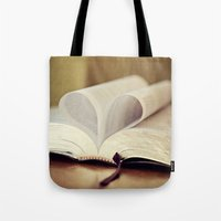 bible Tote Bags featuring Love Bible by Vintage Rain Photography