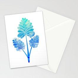 Tropical Palm Leaf Trifecta – Blue Ombré Palette Stationery Cards