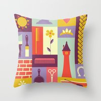 rapunzel Throw Pillows featuring Rapunzel by Ariel Wilson