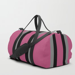 Mauve, Black and Gray Sophisticated Stripes Duffle Bag
