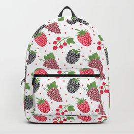 Modern blackberry fruit red raspberry berries pattern Backpack