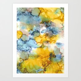 Alcohol Ink 'Fools Gold' Art Print