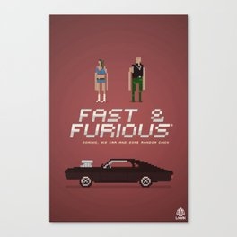 Pixel Art Fast And Furious Canvas Print