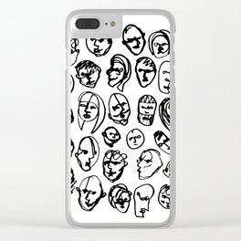Black and White Line Drawing Faces Clear iPhone Case