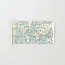 World Map in Blue and Cream Hand & Bath Towel