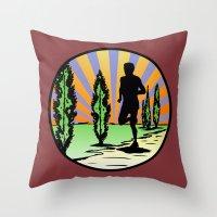 running Throw Pillows featuring Running by Paul Simms