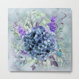 Hydrangea Arrangement in Watercolor Metal Print