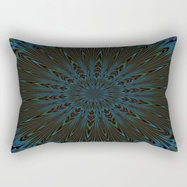 Teal and Brown Feather Abstract Rectangular Pillow