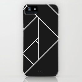 Charcoal Black and White Geometric Abstract Paths and Lines iPhone Case