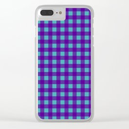 Buffalo Check Plaid in Purple and Turquoise Clear iPhone Case