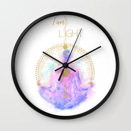 I am Light   Modern Energy Art   Meditation Spiritual Illustration  Wall Clock