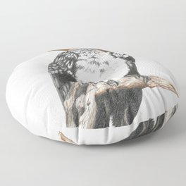 Southern Yellow-Billed Hornbill - Colored Pencil Floor Pillow