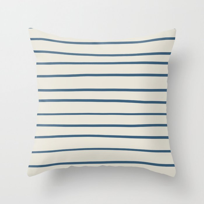 Blue Hand Drawn Horizontal Lines on Linen White Pairs To 2020 Color of the Year Chinese Porcelain Throw Pillow