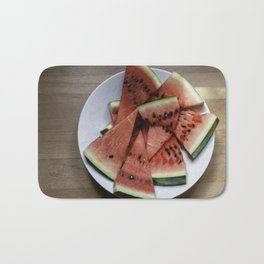Flat lay of  watermelon on the wooden surface Bath Mat