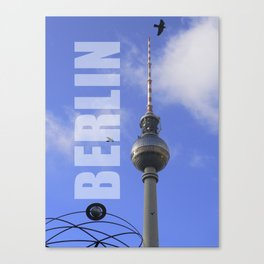 """BERLIN TV Tower with Detail of """"World Time Clock"""" Canvas Print"""