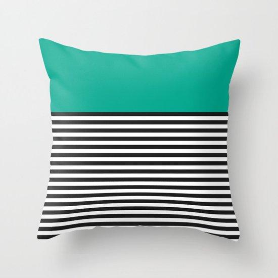 STRIPE COLORBLOCK {EMERALD GREEN} Throw Pillow