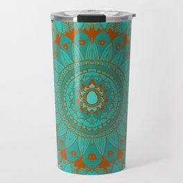 Hand-Drawn Bohemian Mandala Turquoise & Rust Travel Mug
