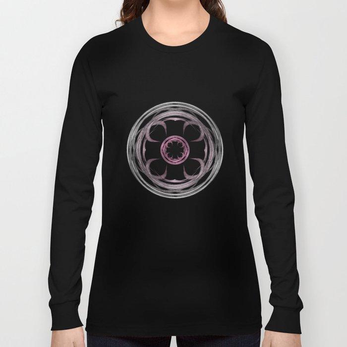 Mandala, silver, purple and pink Long Sleeve T-shirt