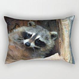 Raccoon Reclining Wildlife Photo Art Rectangular Pillow