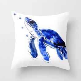 Blue Turtle, Cute turtle art, turtle design illustration Throw Pillow