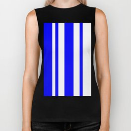 Mixed Vertical Stripes - White and Blue Biker Tank