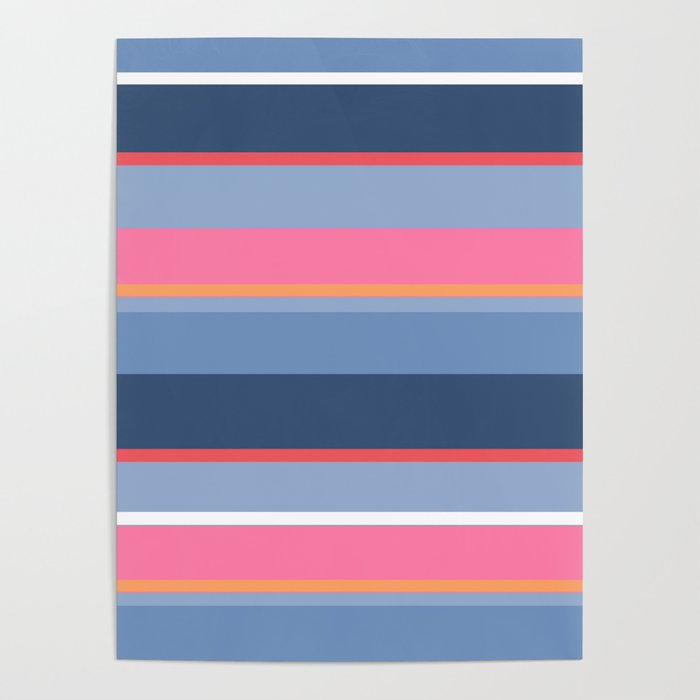 70s Style Simple Colored Stripes - Blues Pinks Peach Poster by desertsart