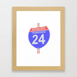 Interstate highway 24 road sign in Tennessee Framed Art Print