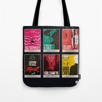 bond Tote Bags featuring Bond #3 by Alain Bossuyt