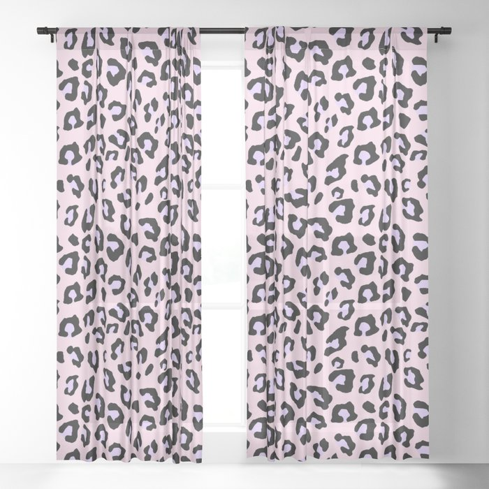 Leopard Print - Lavender Blush Sheer Curtain