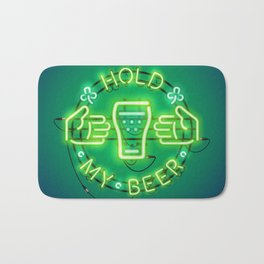Hold My Beer Neon Sign Green Bath Mat