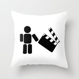 Pictogram holding a movie clapperboard Throw Pillow